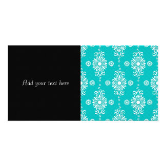 Turquoise and White Floral Pattern Card