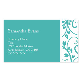 Turquoise and White Floral Vine Business Card