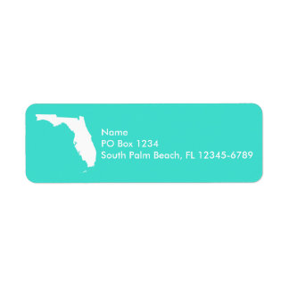 Turquoise and White Florida Personalized Label
