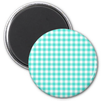 Turquoise and White Gingham Checks Pattern 2 Inch Round Magnet