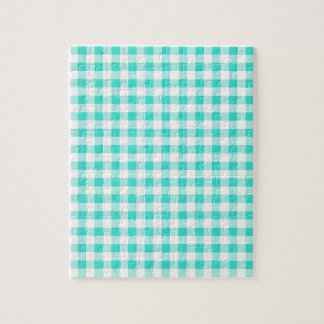 Turquoise and White Gingham Checks Pattern Jigsaw Puzzle
