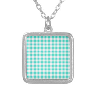 Turquoise and White Gingham Checks Pattern Silver Plated Necklace