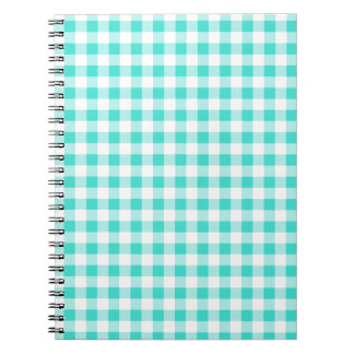 Turquoise and White Gingham Checks Pattern Spiral Notebook