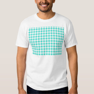 Turquoise and White Gingham Checks Pattern T-Shirt