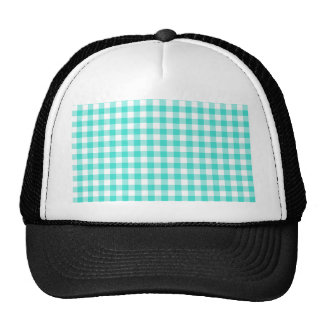 Turquoise and White Gingham Checks Pattern Trucker Hat