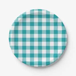 Turquoise and White Gingham Pattern Paper Plate