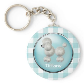 Turquoise and White Gingham & Poodle Key Chain