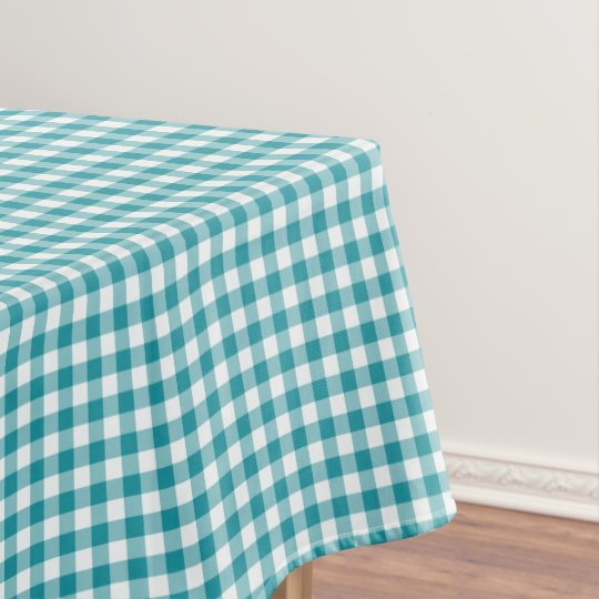 Turquoise And White Gingham Tablecloth Zazzle Com