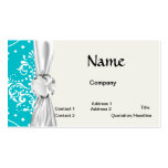 turquoise and white henna style damask business card template