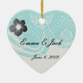 turquoise and white henna style damask. ceramic ornament