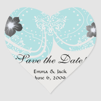 turquoise and white henna style damask. heart sticker