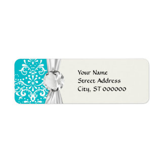 turquoise and white henna style damask return address labels