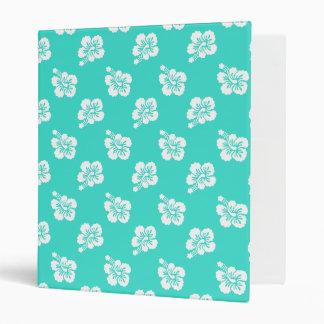 Turquoise and White Hibiscus Hawaiian Pattern Vinyl Binders