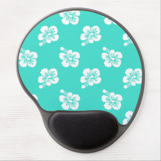 Turquoise and White Hibiscus Hawaiian Pattern Gel Mouse Pads