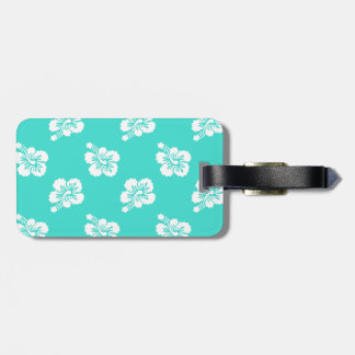 Turquoise and White Hibiscus Hawaiian Pattern Tag For Luggage