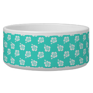 Turquoise and White Hibiscus Hawaiian Pattern Pet Water Bowls