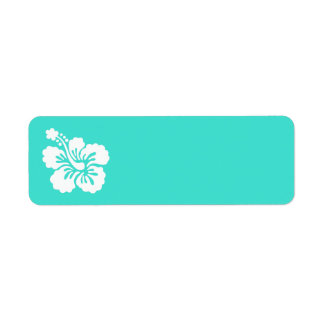 Turquoise and White Hibiscus Label