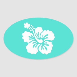 Turquoise and White Hibiscus Oval Sticker