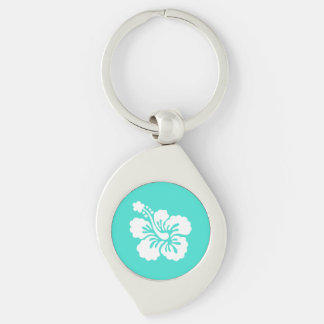 Turquoise and White Hibiscus Silver-Colored Swirl Metal Keychain