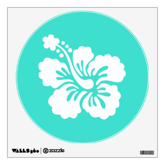 Turquoise and White Hibiscus Wall Sticker