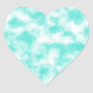 Turquoise and White Marbled Mottled Swirls Clouds Heart Sticker