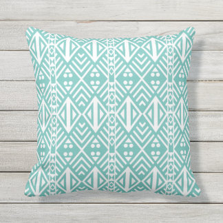 Turquoise and White Modern Aztec Pattern Outdoor Pillow