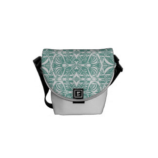 Turquoise and White Nouveau Pattern Bag Messenger Bag