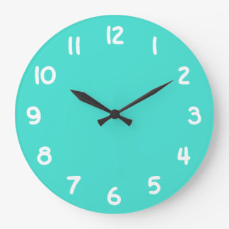 Turquoise and White Numbers Large Clock