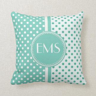 Turquoise and White Polka Dot Monogram Pillow