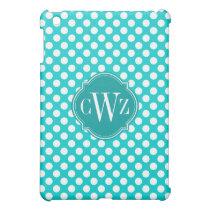 Turquoise and White Polka Dot Pattern Monogram iPad Mini Case