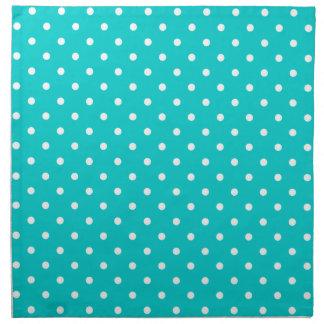 Turquoise and white polka dot pattern napkin set