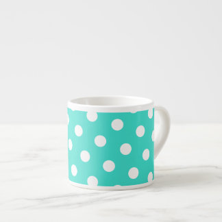 Turquoise and White Polka Dots 6 Oz Ceramic Espresso Cup