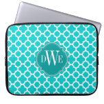 Turquoise and White Quatrefoil Pattern Monogram Computer Sleeve