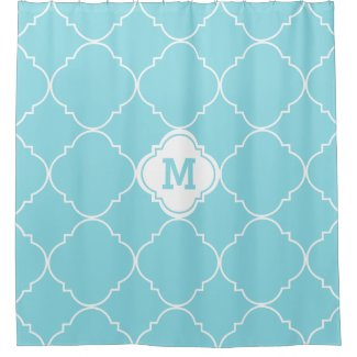 Turquoise and White Quatrefoil Pattern Monogrammed Shower Curtain