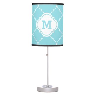 Turquoise and White Quatrefoil Pattern Monogrammed Table Lamp