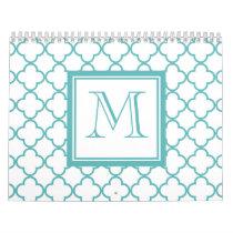 Turquoise and White Quatrefoil | Your Monogram Calendar