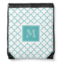 Turquoise and White Quatrefoil | Your Monogram Drawstring Bag