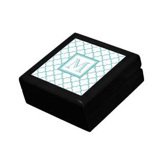 Turquoise and White Quatrefoil | Your Monogram Keepsake Box