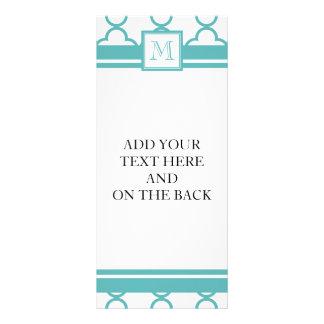 Turquoise and White Quatrefoil | Your Monogram Rack Card