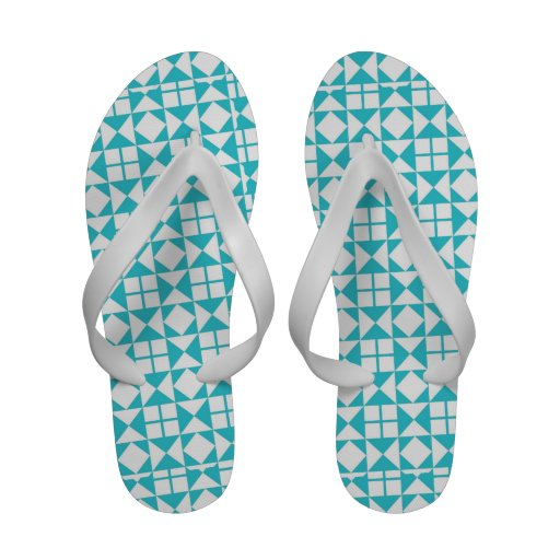 Turquoise and White Quilt Squares Pattern Flip-Flops