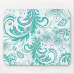 Turquoise And White Retro Flowers & Swirls Design Mousepad