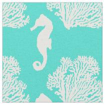 Turquoise And White Seahorse Coastal Pattern Fabric