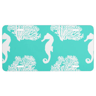 Turquoise And White Seahorse Coastal Pattern License Plate