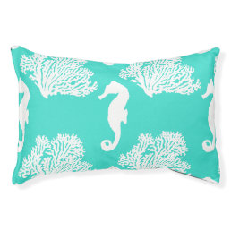 Turquoise And White Seahorse Coastal Pattern Pet Bed