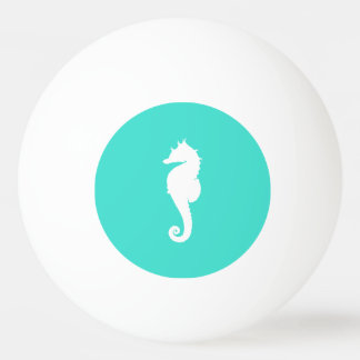 Turquoise and White Seahorse Ping Pong Ball