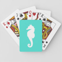 Turquoise and White Seahorse Playing Cards