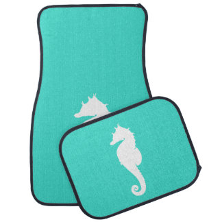 Turquoise and White Seahorse Floor Mat