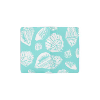 Turquoise and White Seashells Notebook Cover