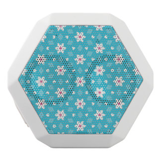 Turquoise and White Speaker with Flowers