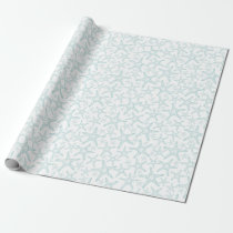 Turquoise and White Starfish Pattern Wrapping Paper